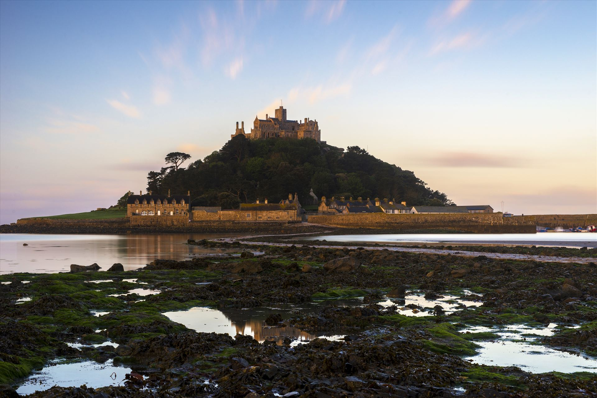 St. Michael's Reflection - I decided to experiment with a different position to photograph St. Michael's Mount, by venturing onto the rocks. I was looking for any reflections to add some symmetry to my landscape. by James Etchells Photography
