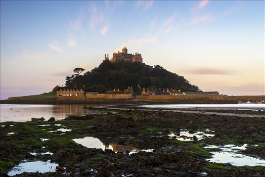 I decided to experiment with a different position to photograph St. Michael's Mount, by venturing onto the rocks. I was looking for any reflections to add some symmetry to my landscape.